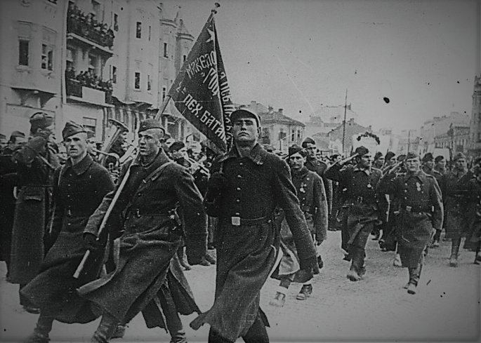 Partisans marching through liberated Skopje Nove 1944